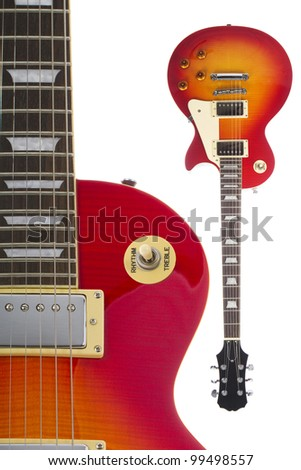 Beautiful sunburst electric guitar isolated on white background both close up and full view