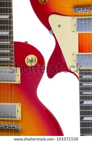 Beautiful sunburst electric guitar isolated on white background both sides separate - stock photo