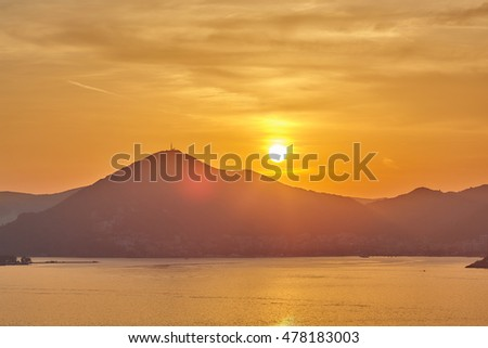 Beautiful sundown, Adriatic Sea, Montenegro rocks