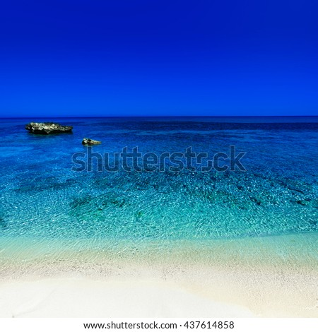 Beautiful Sunny Beach Coastline with Panorama Tranquility Bay. Tropical Paradise  Seascape Travel vacation background  - stock photo