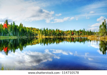 Beautiful sunny day during fall in Northern Canada forest with some red and orange maple trees reflected by a calm water lake, hdr rendering. - stock photo