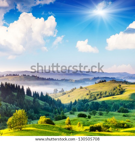 Beautiful sunny day is in mountain landscape. Carpathian, Ukraine, Europe. Beauty world. - stock photo