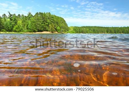 Beautiful sunny day on a northwoods Wisconsin Lake. - stock photo