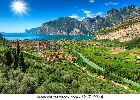 Beautiful sunny day on Lake Garda,Torbole.Italy,Europe - stock photo