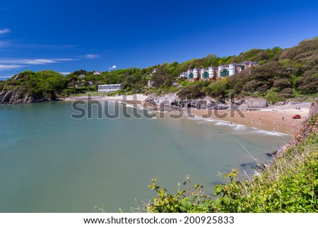 Beautiful sunny day overlooking Caswell Bay Gower Peninsual Wales UK Europe