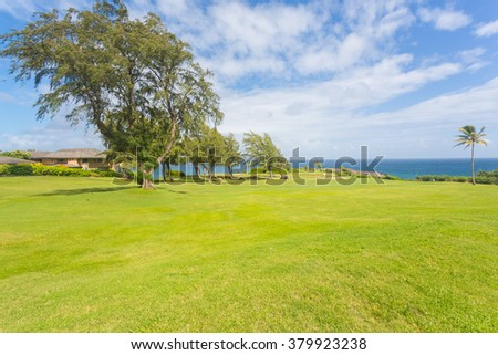 Beautiful sunny green golf course with palm trees and vacation houses in Maui, Hawaii.