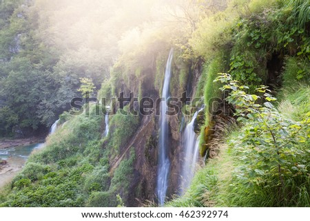 Beautiful sunny tropical waterfalls. Nature paradise