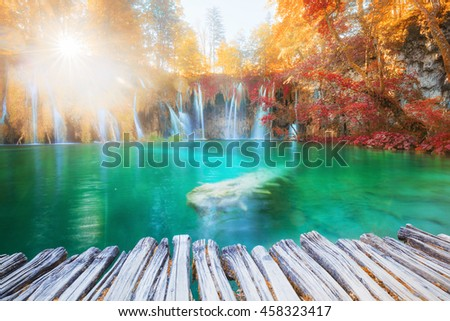 Beautiful sunny waterfalls. Plitvice National Park, Croatia.
