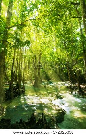 Beautiful sunray and waterfall in rainforest, Emerald Pool - Krabi - Thailand - stock photo