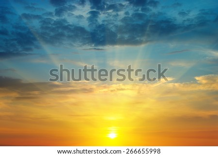 beautiful sunrise and cloudy sky - stock photo