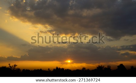 Beautiful sunrise and dramatic clouds on the sky