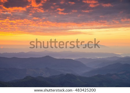 Beautiful sunrise and sky with mountain landscapes