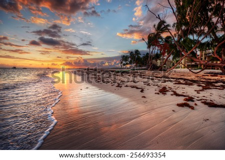 Beautiful sunrise at a beach-side resort with palm trees - stock photo