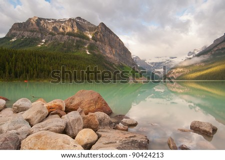 Beautiful sunrise at Lake Louise in Banff National Park.
