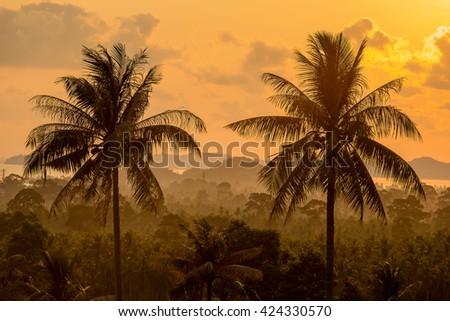 Beautiful sunrise at Maenam beach, Koh samui island, Thailand - stock photo