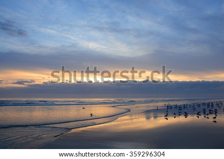 Beautiful sunrise at the beach, Daytona Beach, Florida. - stock photo
