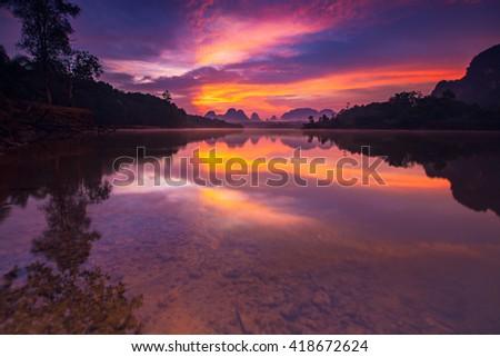 Beautiful sunrise at the nongtalay lake in krabi Province,Thailand,Karntiphat Changrua - stock photo