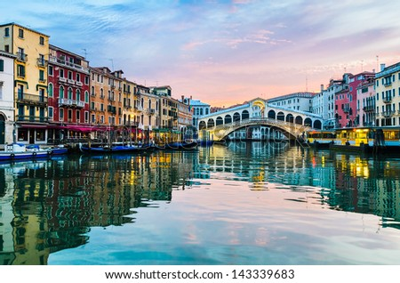 Beautiful sunrise at the Rialto Bridge, Venice, Italy