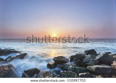 beautiful sunrise at the sea sunrise, long exposure, waves