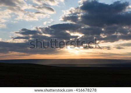 beautiful sunrise early morning in the mountains - stock photo