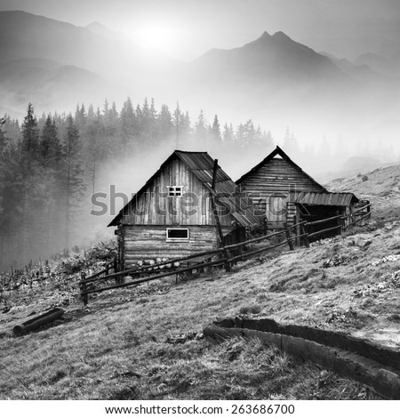 Beautiful sunrise in Carpathian mountains with nature wooden houses on a forest hill. Black and white - stock photo