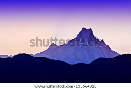 Beautiful sunrise in Himalaya mountains - stock photo
