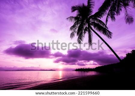Beautiful sunrise in Koh Payam island, Thailand. Purple filter. - stock photo
