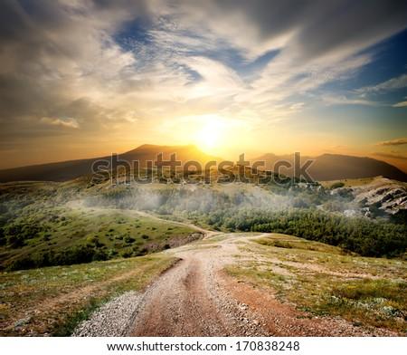 Beautiful sunrise in the autumn mountains of Crimea - stock photo