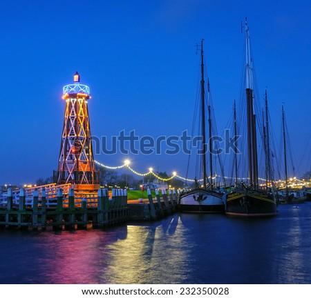 Beautiful sunrise in the harbor of Enkhuizen, Netherlands - stock photo