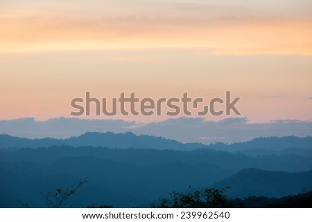 Beautiful sunrise in the mountain,Tad mok Phetchabun Thailand. - stock photo