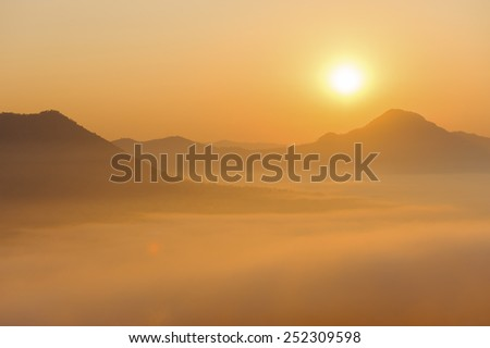 Beautiful sunrise in the mountains landscape with the dramatic sky. The boarder of Thailand, Loei Province