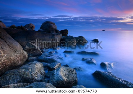 Beautiful sunrise in the sea at Thumkaotao Hua Hin, Prachuap Khiri Khan, Thailand.
