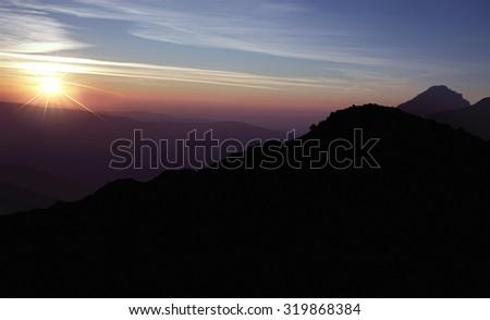 beautiful sunrise landscape - stock photo