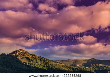 Beautiful sunrise light in the mountains