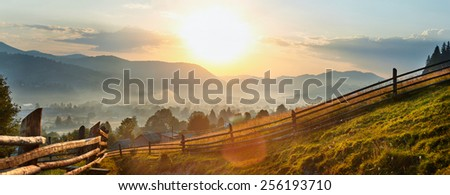 beautiful sunrise of Carpathian mountain - stock photo