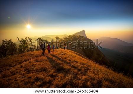 Beautiful Sunrise of travel place in Thailand, Mon Jong, Om koi, Chiang Mai - stock photo