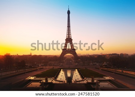 beautiful sunrise over Eiffel tower, panoramic view of Paris, France - stock photo