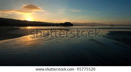 Beautiful sunrise over Half Moon Bay, California - stock photo