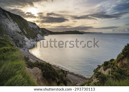 Beautiful sunrise over Mupe Bay landscape on Summer morning