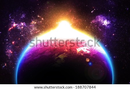 Beautiful Sunrise Over Planet - Elements of this Image Furnished By NASA - stock photo