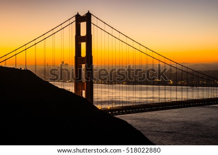 Beautiful sunrise over San Francisco and the Golden Gate Bridge