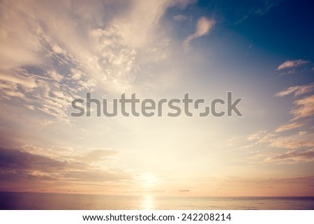 Beautiful sunrise over sea of Thailand. Retro filter. - stock photo