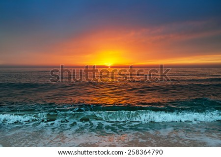 Beautiful sunrise over the horizon - stock photo