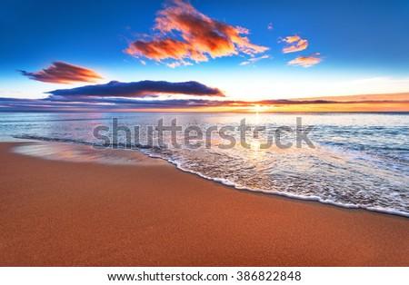 Beautiful sunrise over the horizon. - stock photo