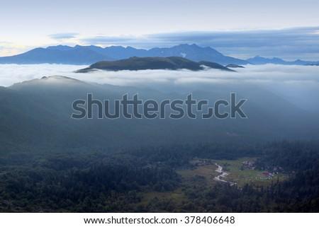 Beautiful Sunrise Over The Mountains - stock photo