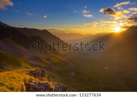 beautiful sunrise scene - stock photo