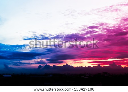 Beautiful sunrise sky with clouds