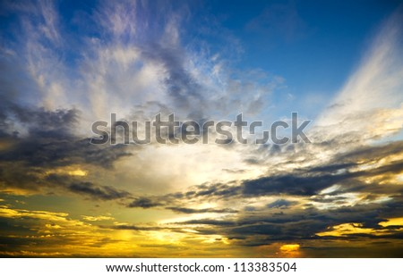 Beautiful sunset above the sea. Nature composition. - stock photo