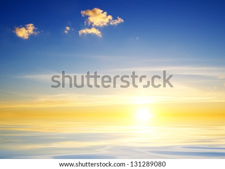 Beautiful sunset above the sea Nature composition - stock photo