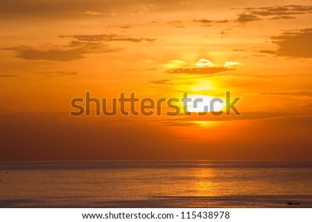 Beautiful sunset above the sea Patong, Phuket, Thailand - stock photo